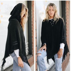 HEIDI- Hooded Lace Up Poncho